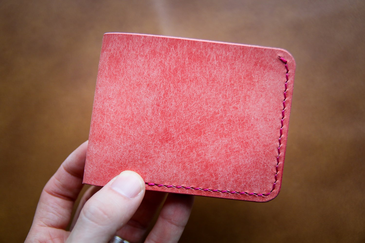 Image of Traditional Bifold in Pink Pueblo and Black Chromexcel