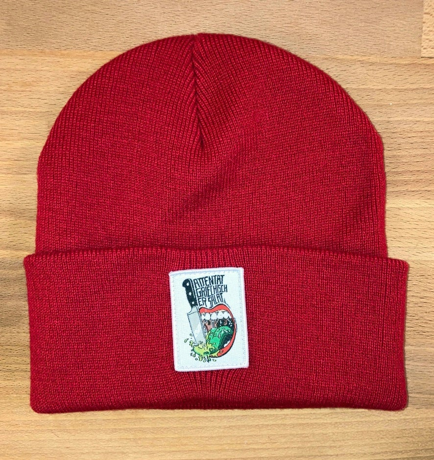 Image of Attentat SUPPORT Beanie (Wollmütze) in rot!