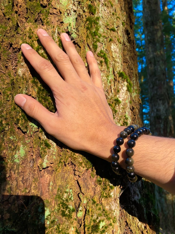 Image of gold sheen black obsidian stretch bracelets