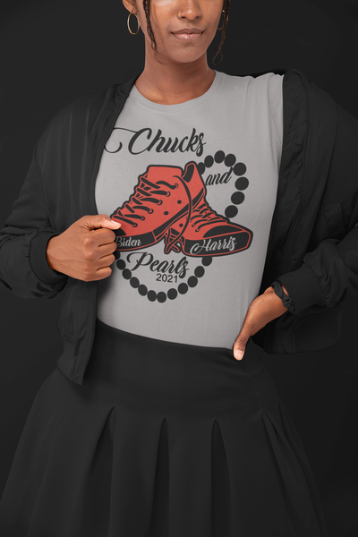Image of Chucks and Pearls (Red on Gray)