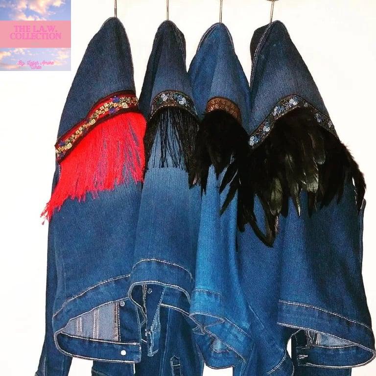 Image of Custom Fringe Denim Jacket Azure