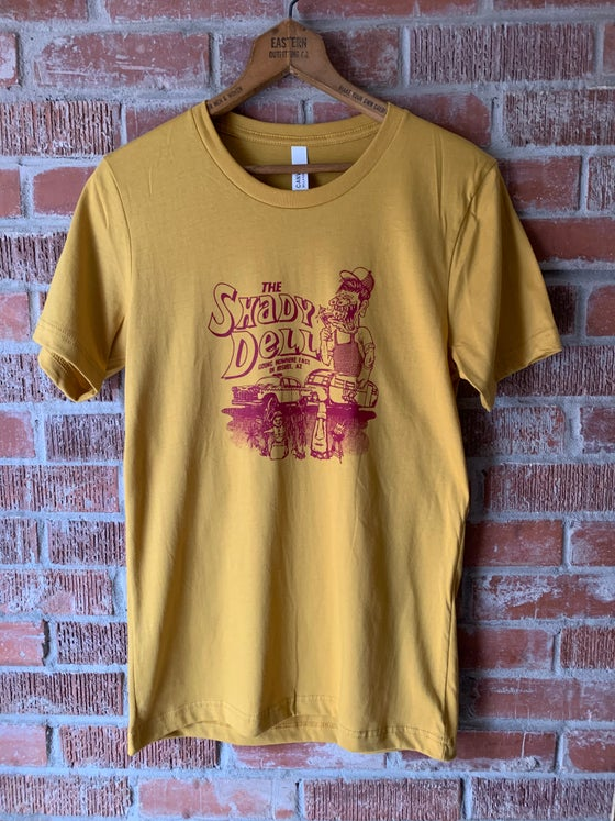 Image of Mustard Tee with NEW Design in Maroon