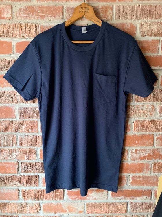 Image of Navy Pocket Tee with Logo on Back