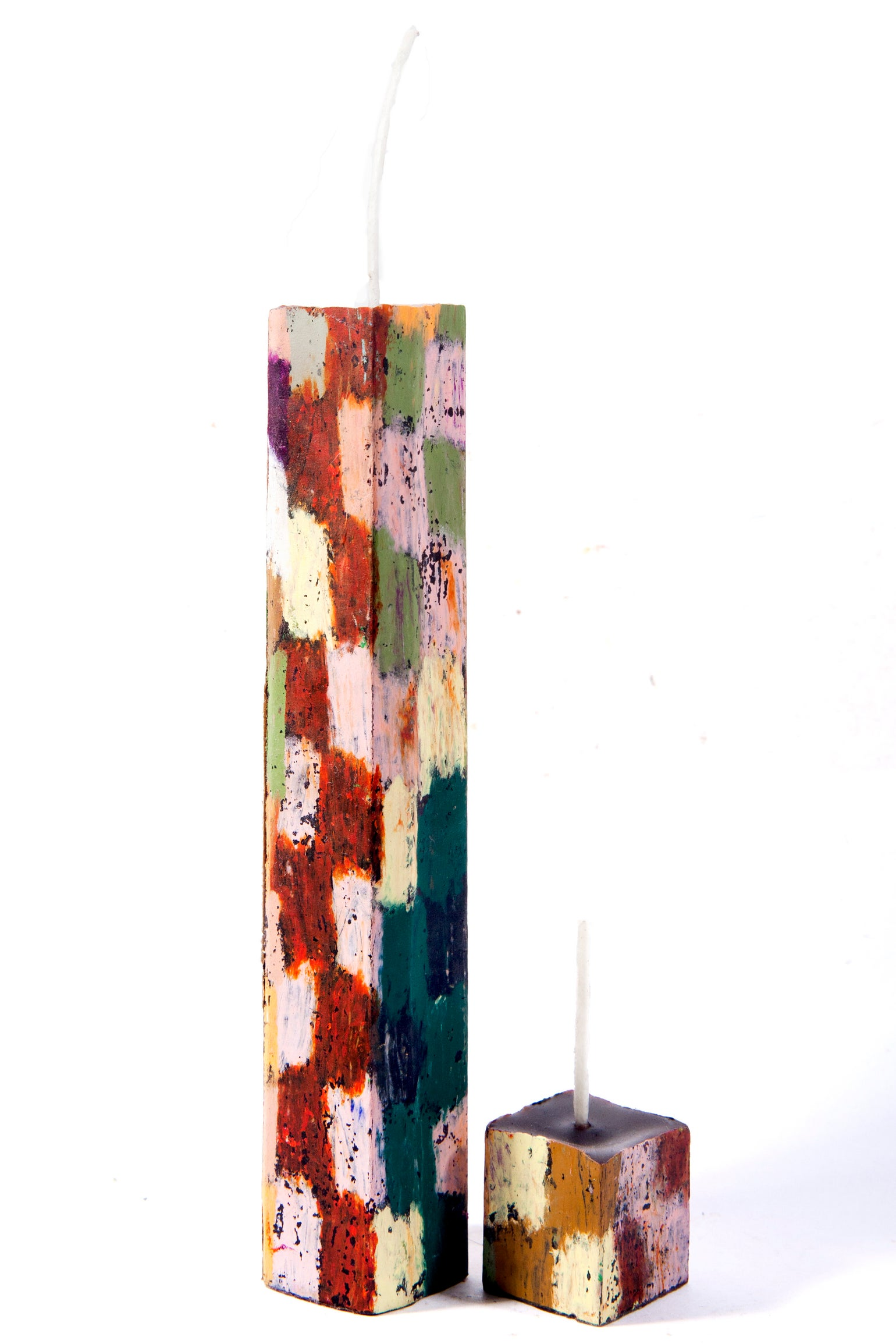 Image of Tall Stack Tower Mother & Child in greens, black, reds, yellow, pink, brown, orange, white & grey