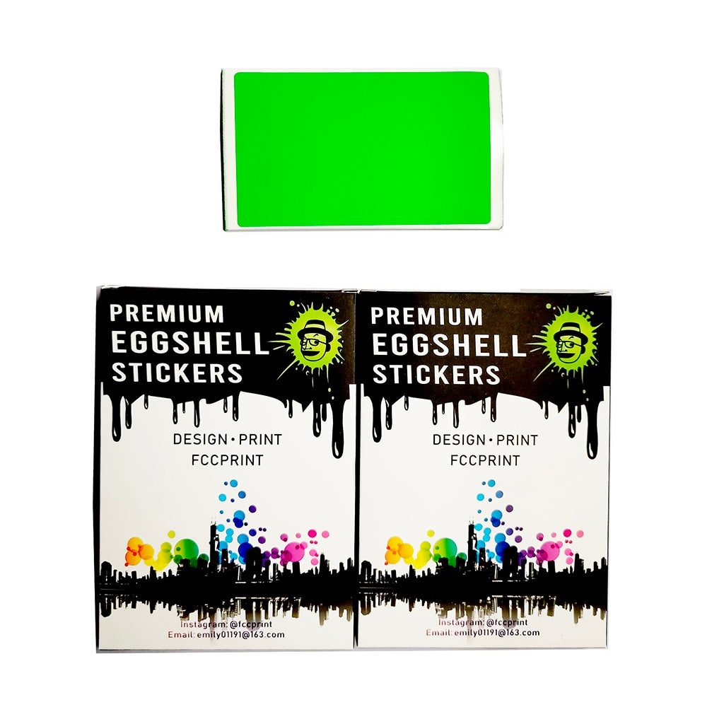 Image of Free Shipping Worldwide Blank Fluorescent Green Eggshell Stickers 50/100/200pcs