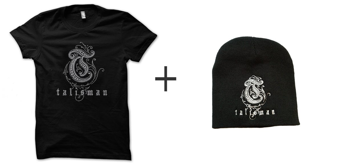Image of Talisman -Bundle Silver logo T-shirt + Embroidered Logo Beanie Hat