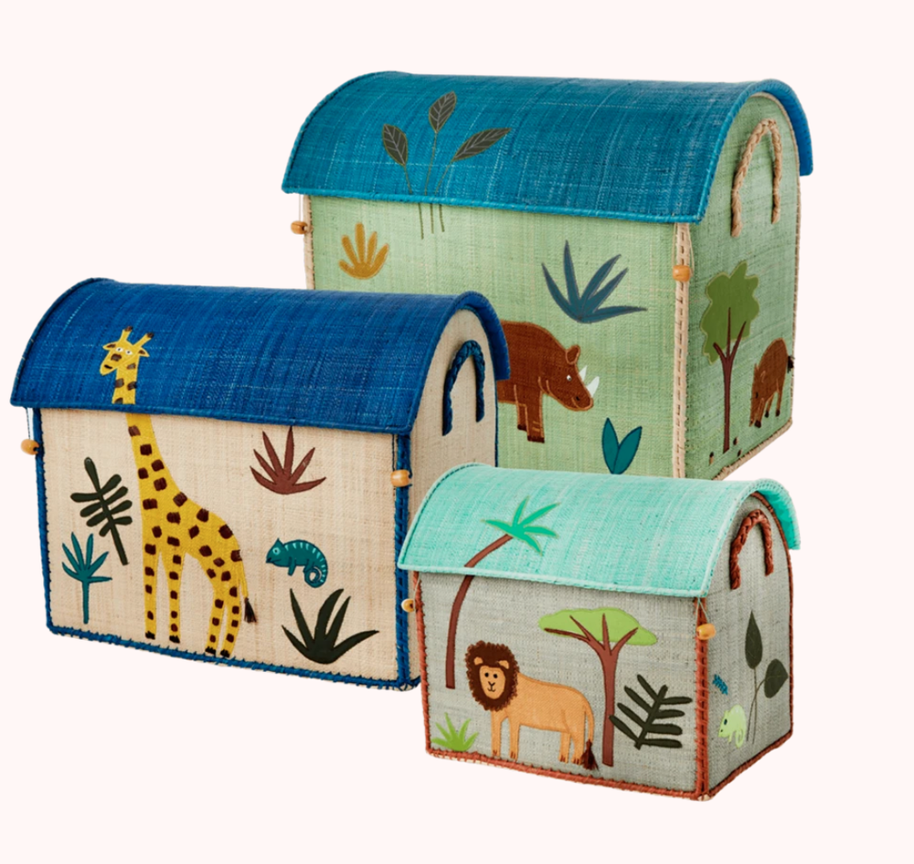 Image of Raffia Toy Baskets - Sets of Three (Jungle, Space, Mustache theme)