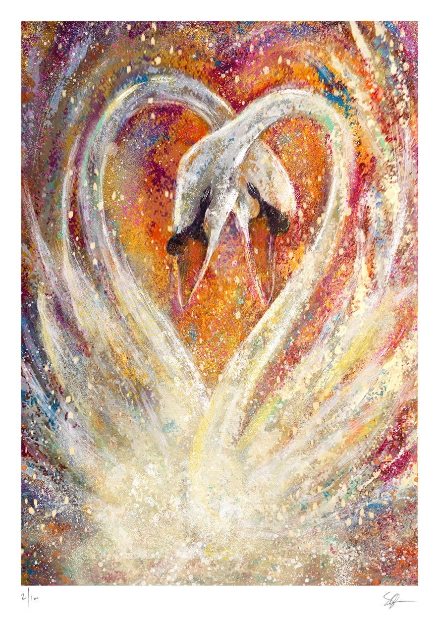 The Lovers (Swans) Augmented  Giclée Art Print
