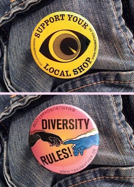 Mixed Buttons 6er Bündel, Support Your Local Shop und Diversity Rules!