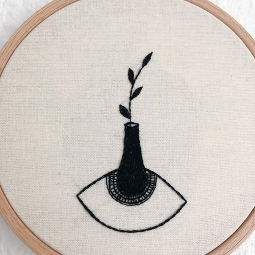 Image of Still eye - hand embroidered wall hanging, 5'' hoop