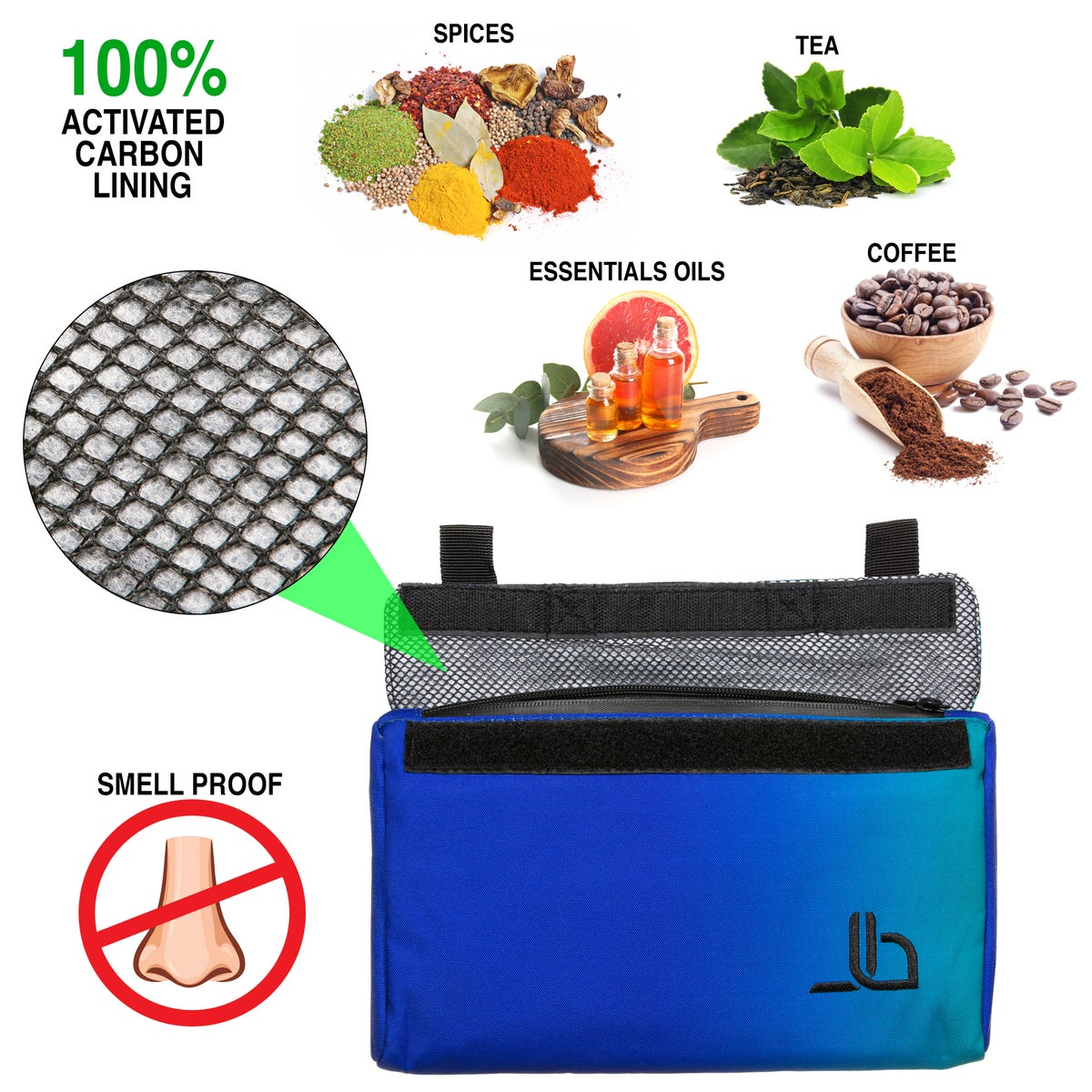 Smell Proof Bag - Eliminates Odor in Carbon Lined Airtight Bag