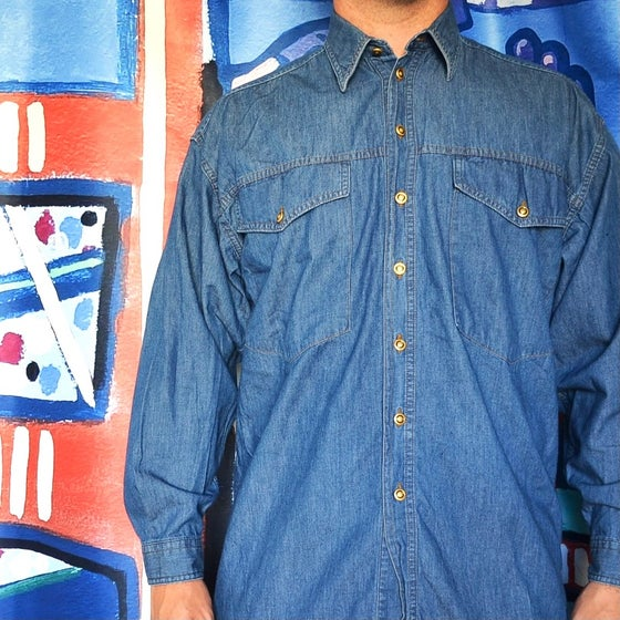 Image of Vintage 1990's Versace Classic V2 Denim Button Down Shirt Sz.M