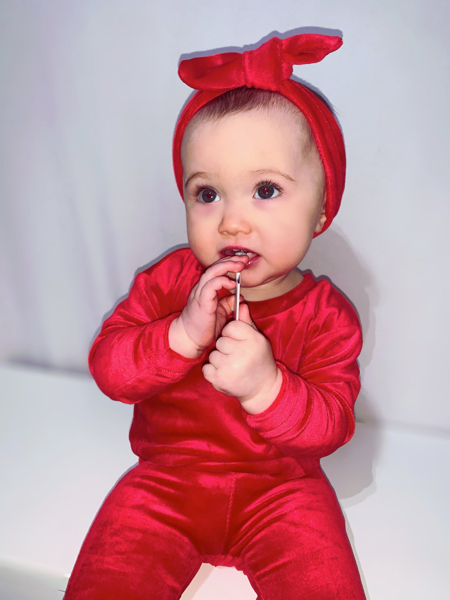 Image of Baby Girl Red Velvet Tracksuit