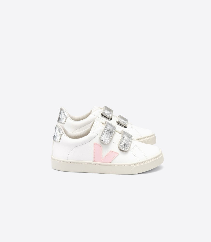 "Image of VEJA ""NEW COLLECTION"" Esplar velcro chromefree white petale silver"