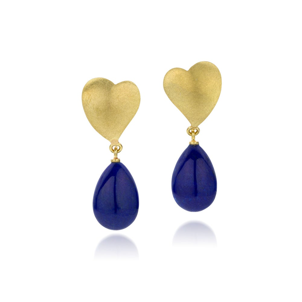 Image of oorringen goud, lapis lazuli - earrings gold, lapis