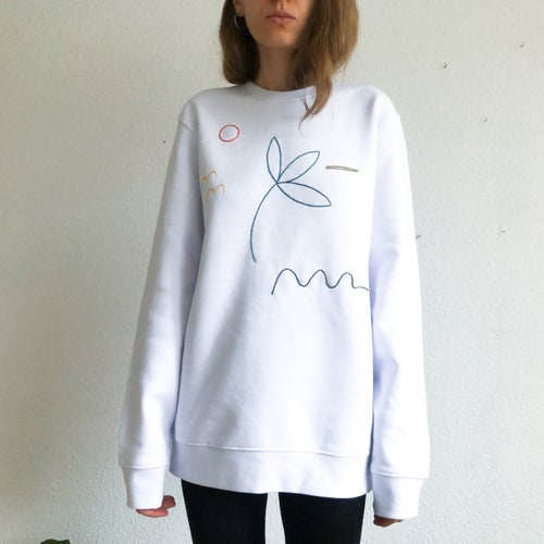 Image of Longing for summer - hand embroidered organic cotton sweatshirt, Unisex, available in ALL sizes