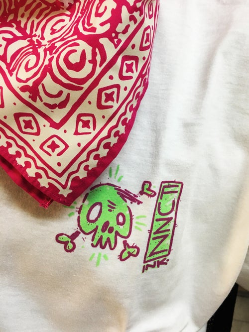 Image of fuzz ink. + destroy white tee