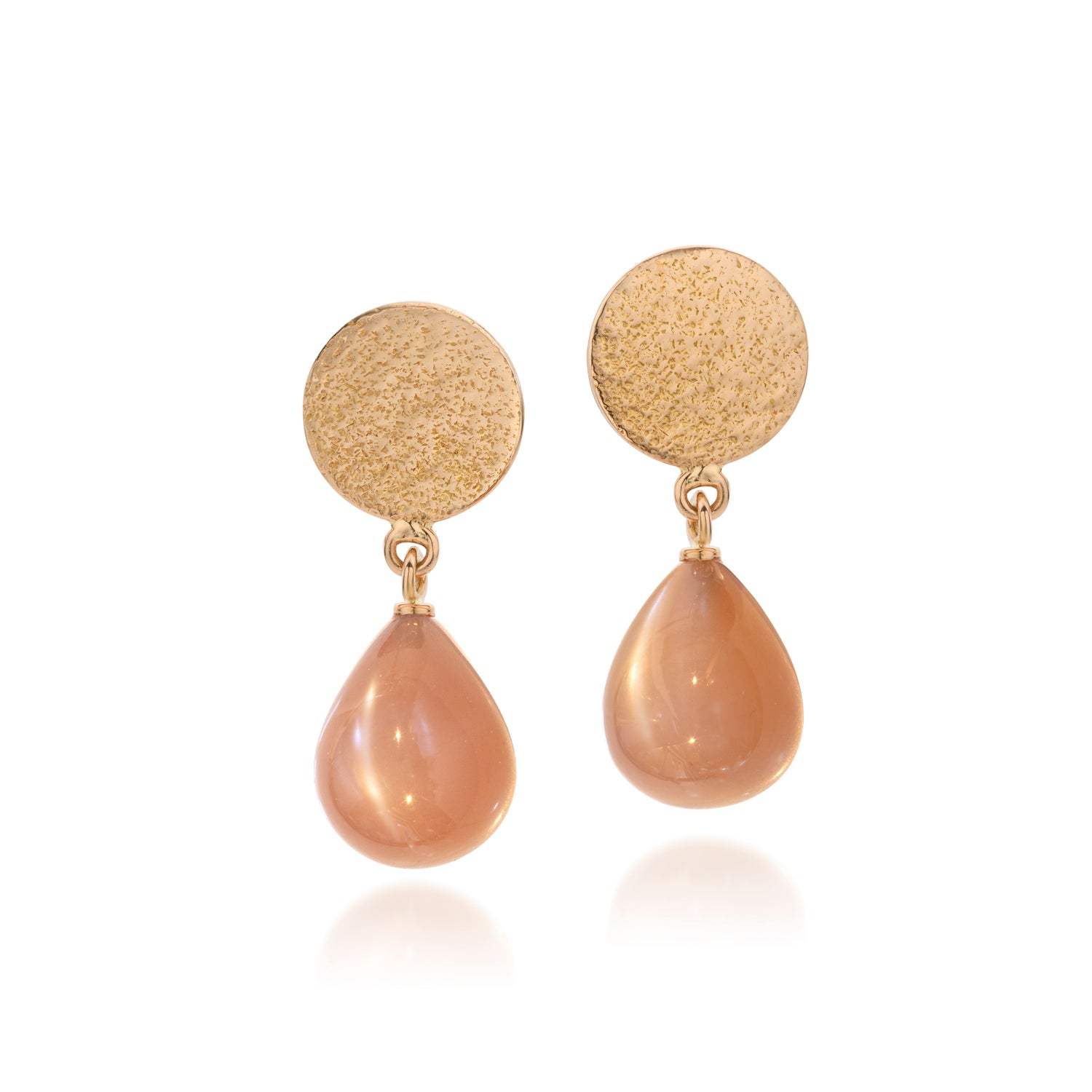 Image of oorjuwelen in roos goud en Indische maansteen - earring in pink gold and moonstones