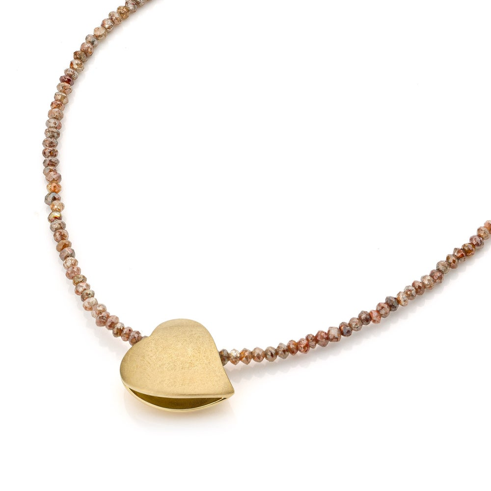 Image of Je te donne mon cœur hartje halsketting goud diamanten - necklace gold diamonds