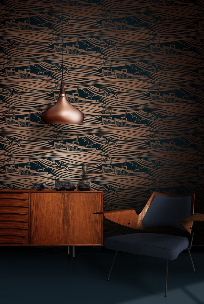 Image of Whitby Wallpaper - Midnight & Copper