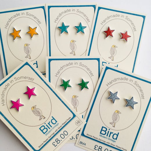 Bird Modern Vintage Star Earrings