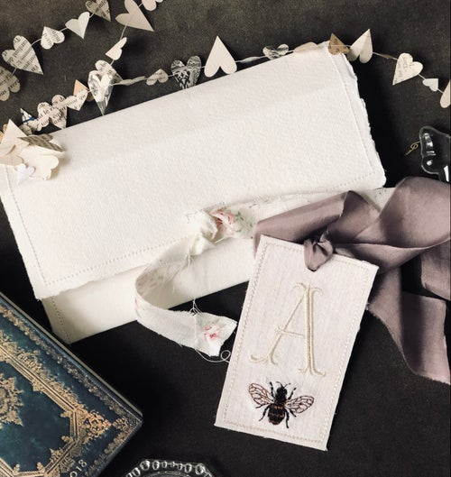 Image of Monogrammed Linen & Silk Tag