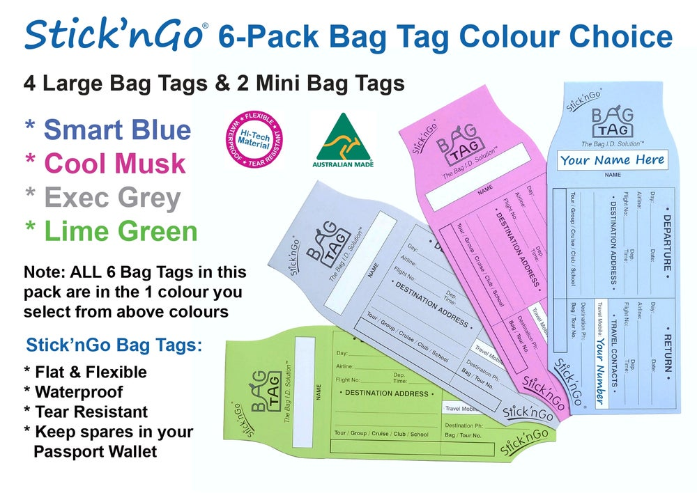 Image of 6 Stick'nGo Group Tour BAG TAGS all in one Colour. 4 Large Tags & 2 Mini Tags. Only $5.95