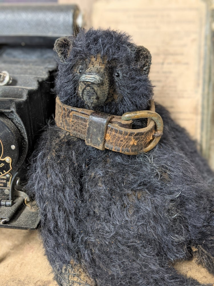 "Image of Rare ALL BLACK Mohair 10"" fat Teddy Bear antique leather collar by Whendi's Bears"