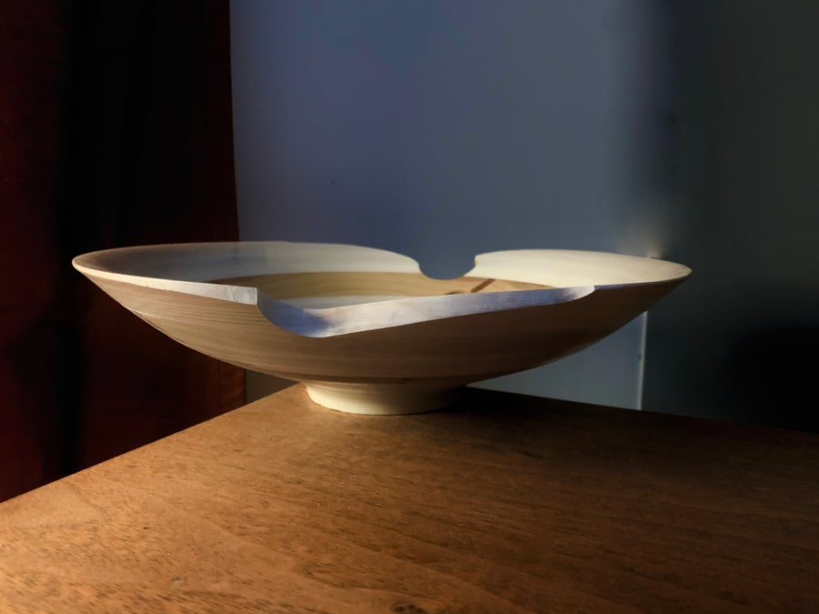 Image of Handcrafted Handmade Turned Wood Platter Wall Sculpture