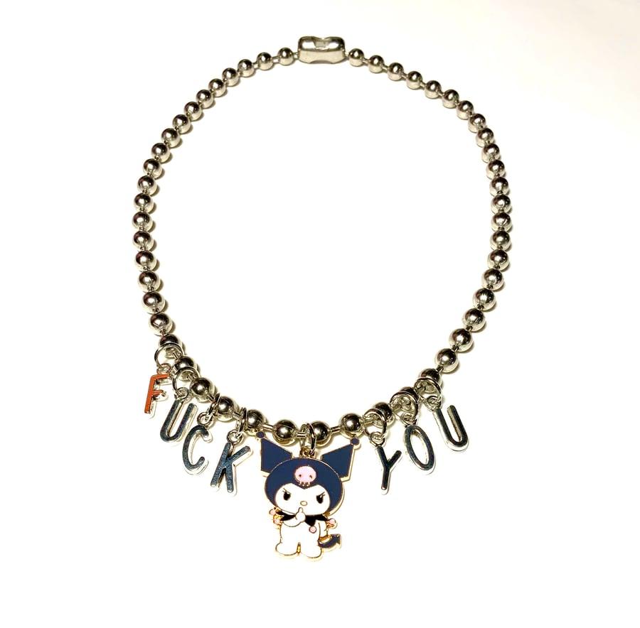 Image of FUCK YOU Kuromi Ballchain Necklace