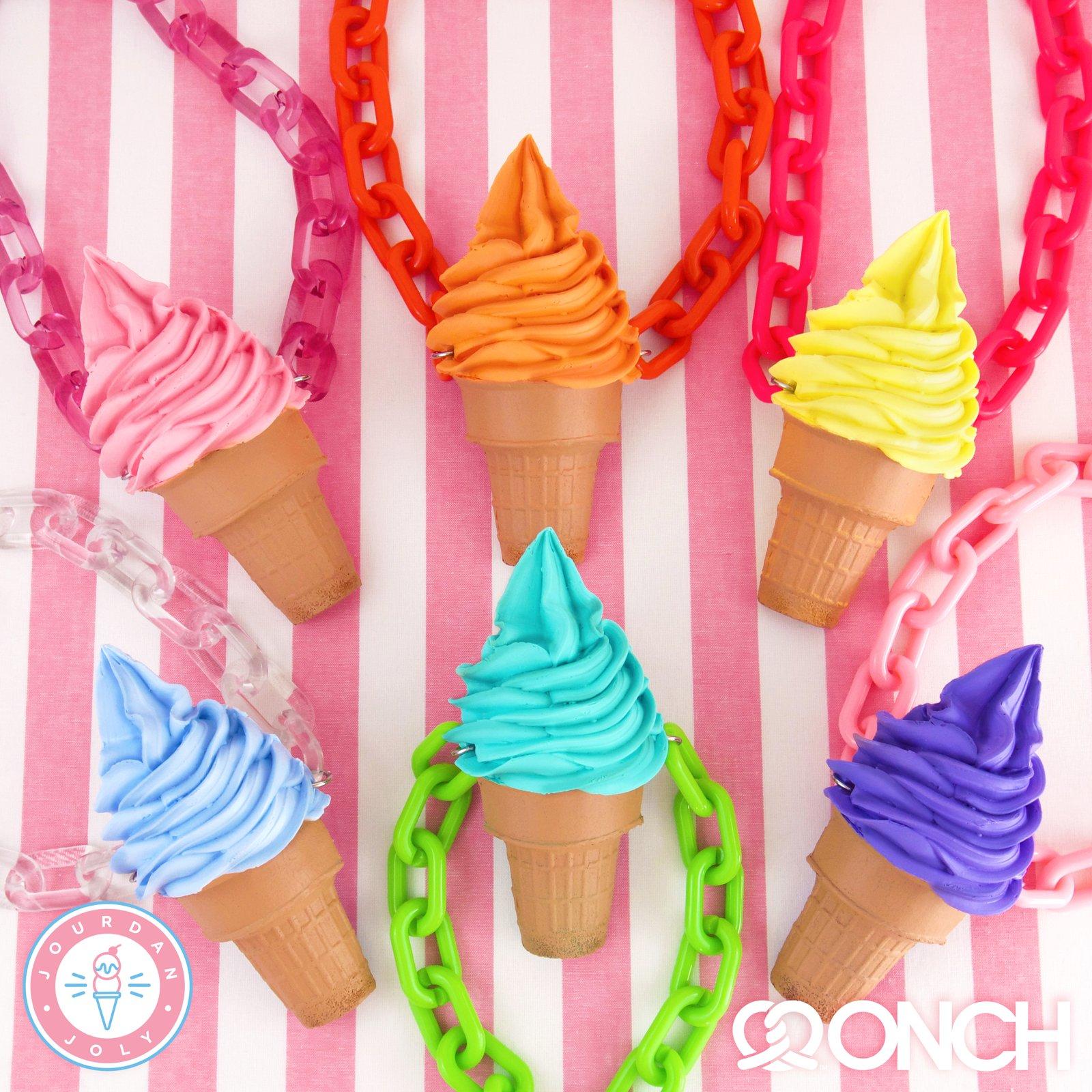 Gelato Icecream Sorbet Natural Real  Fresh Water Pearl Pendant Ice Cream Waffle Cone Necklace