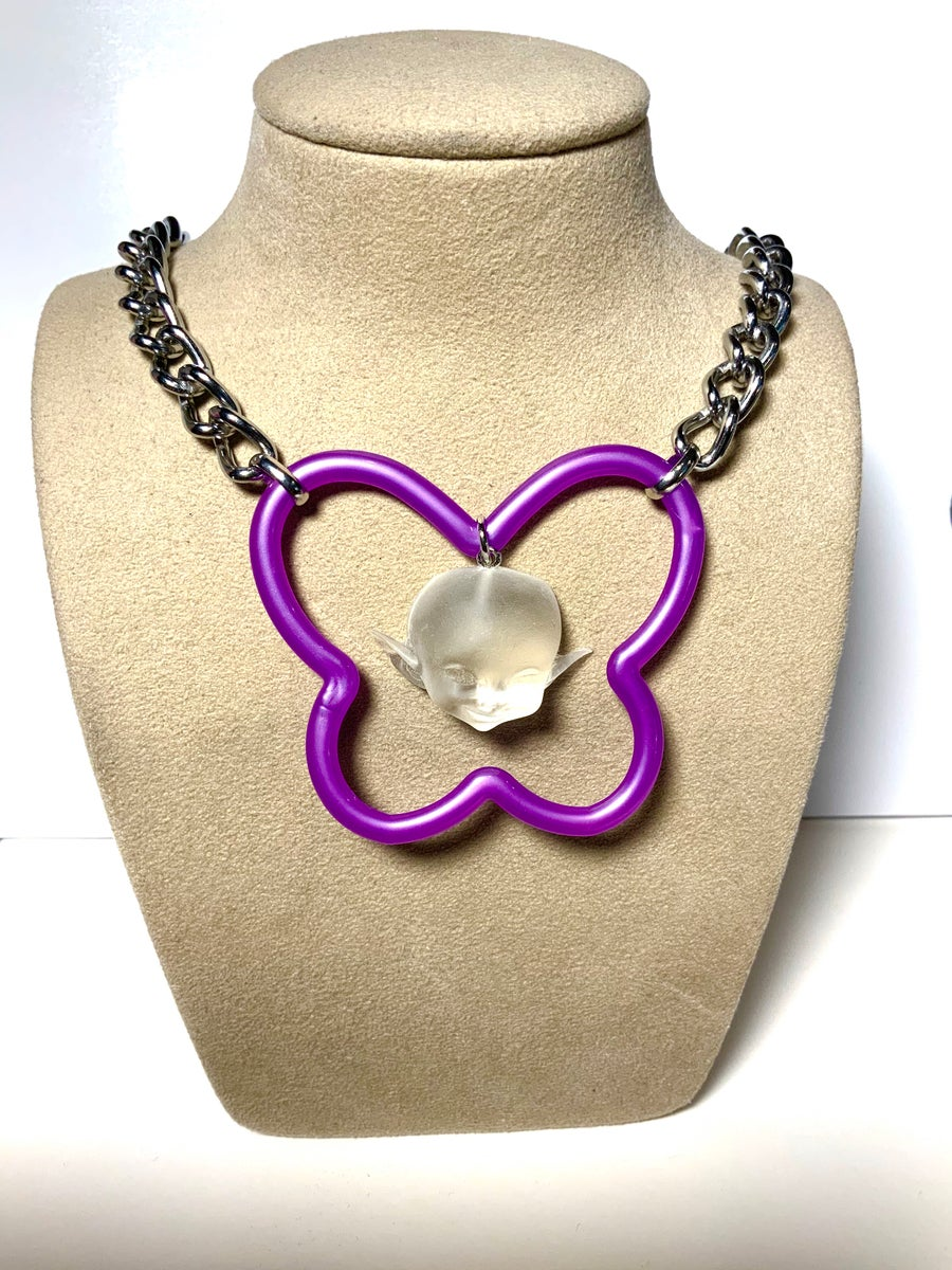 Image of Purple Butterfly Ghost Necklace