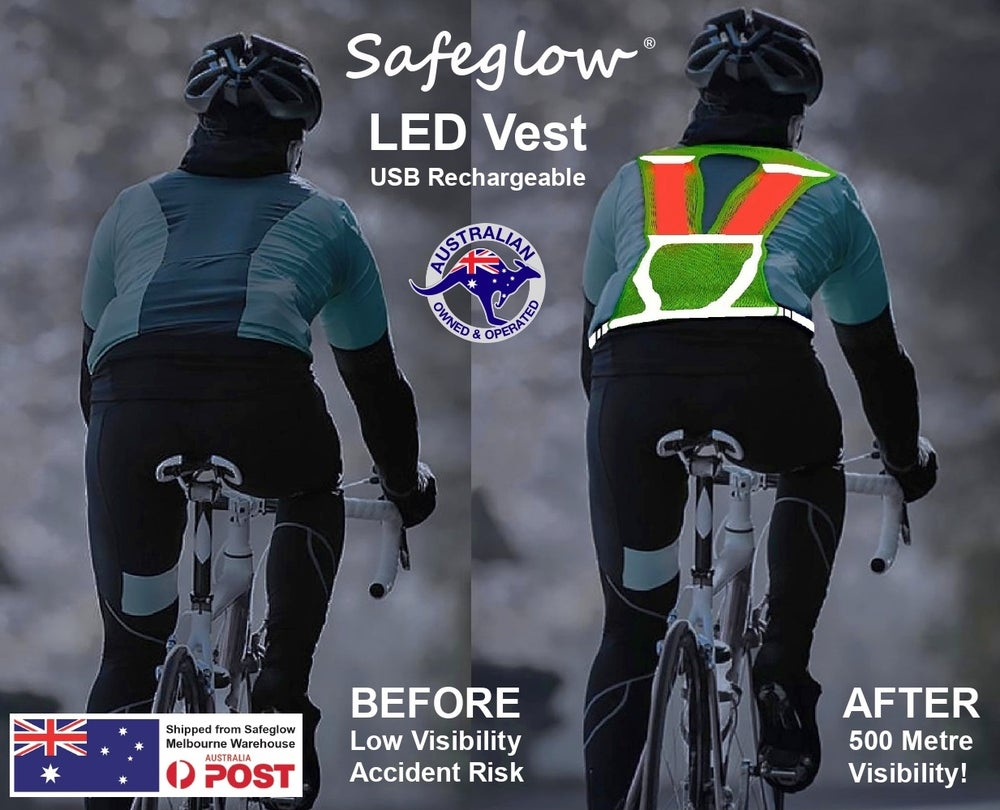 Image of Safeglow® Rechargeable LED Cycling, Jogging & Riding Vest Plus FREE $11.95 Wrist Band