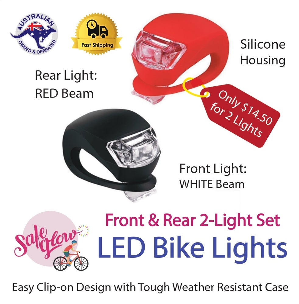 Image of  Safeglow® Silicone BIKE LIGHTS: Front & Rear. Single or Twin Pack