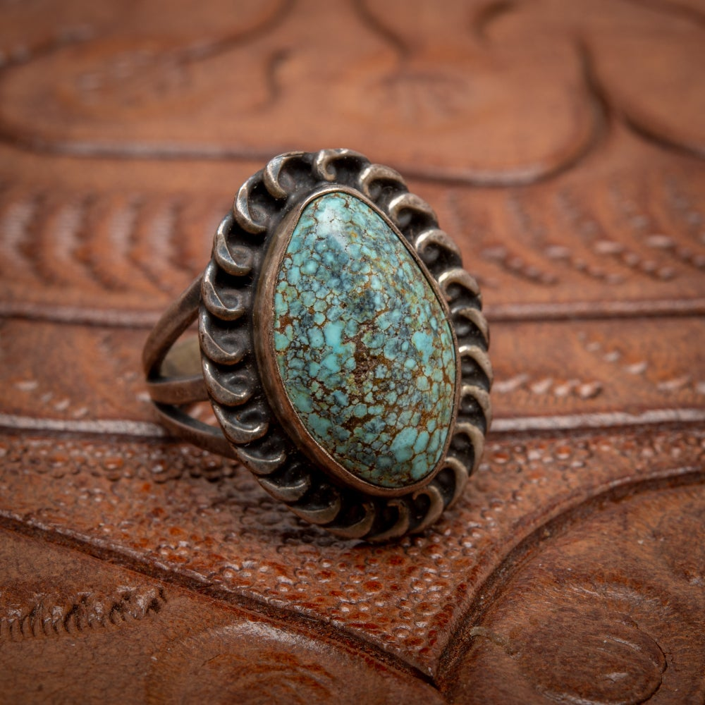 Image of 1970s Vintage Sterling Silver Ring with beautiful Turquoise Nugget stone w Matrix Size 5.25