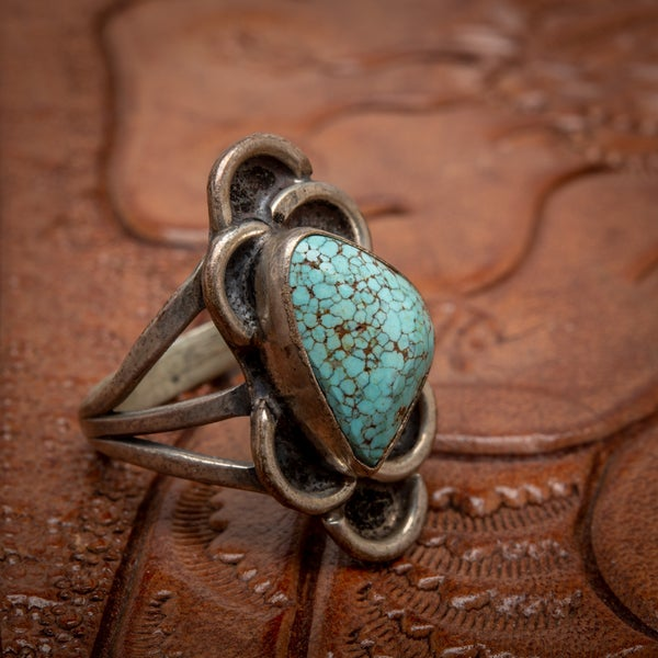 Image of 1970s Vintage Sterling Silver Ring with beautiful Spider Web MatrixTurquoise gemstone  size 6