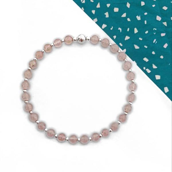 Image of Sterling Silver & Rose Quartz Stacking Bracelet