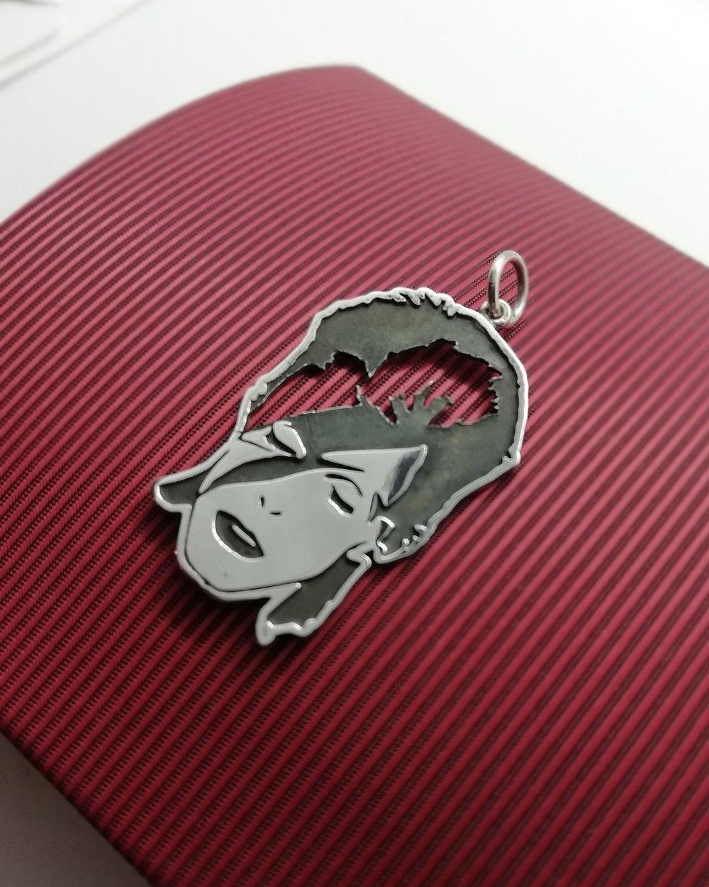 Aladdin Sane Inspired Detailed Pendant (925 Silver)