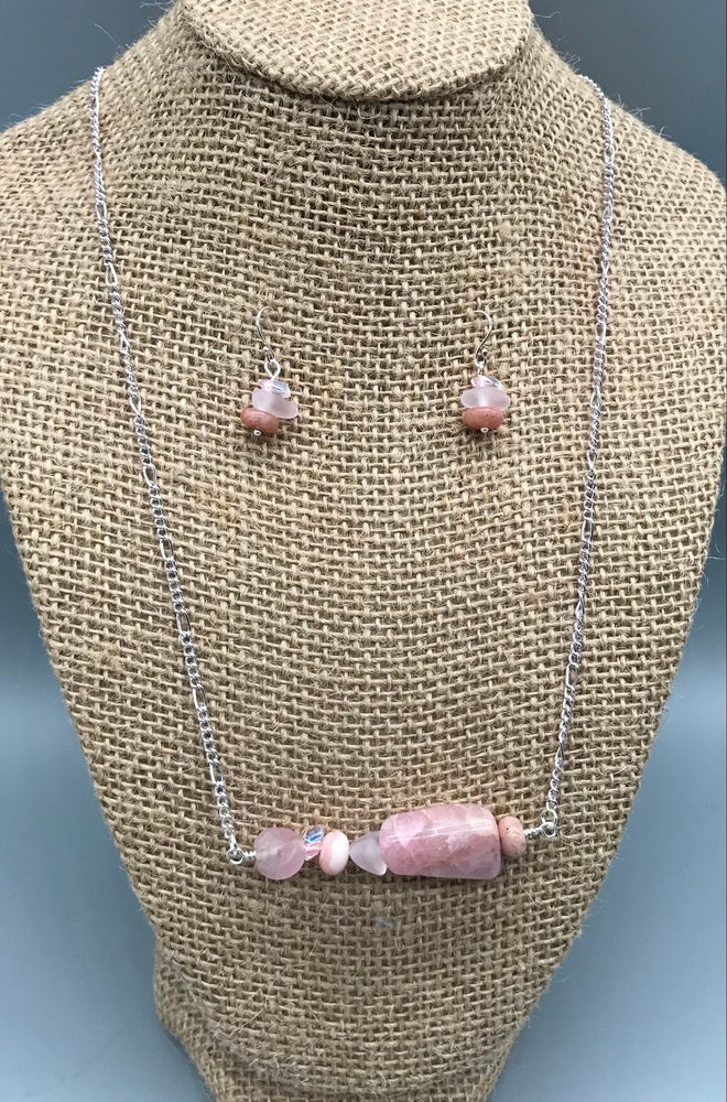 Image of Pink Stones Necklace and Earrings