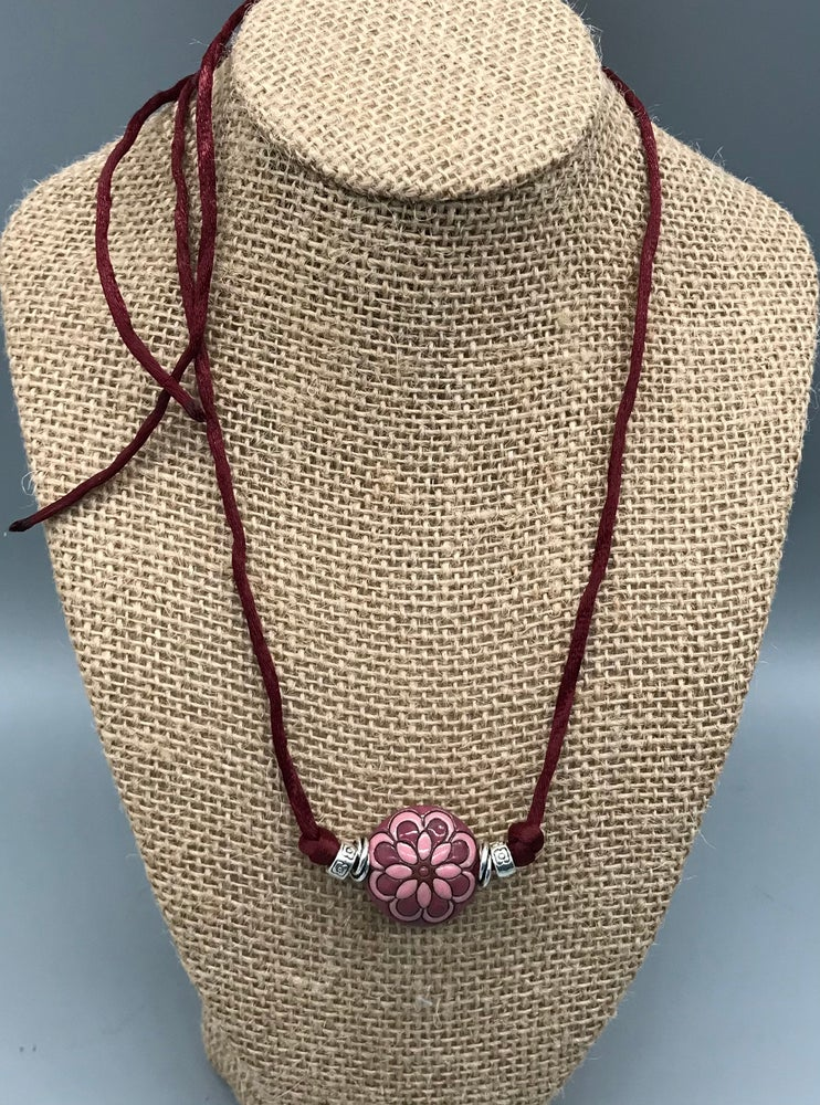 Image of Burgundy Peacock Flower Necklace
