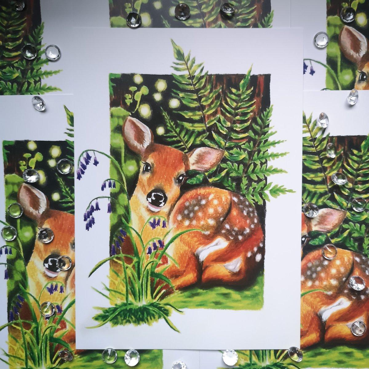 A5 Deer and Bluebells Print