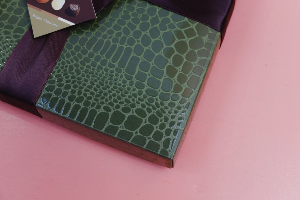 Image of Wrapped Faux Crocodile Skin Belgian Chocolate Assortment Box - Khaki