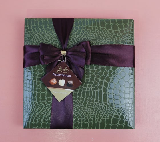 Image of Wrapped Faux Crocodile Skin Belgian Chocolate Assortment Box - Khaki