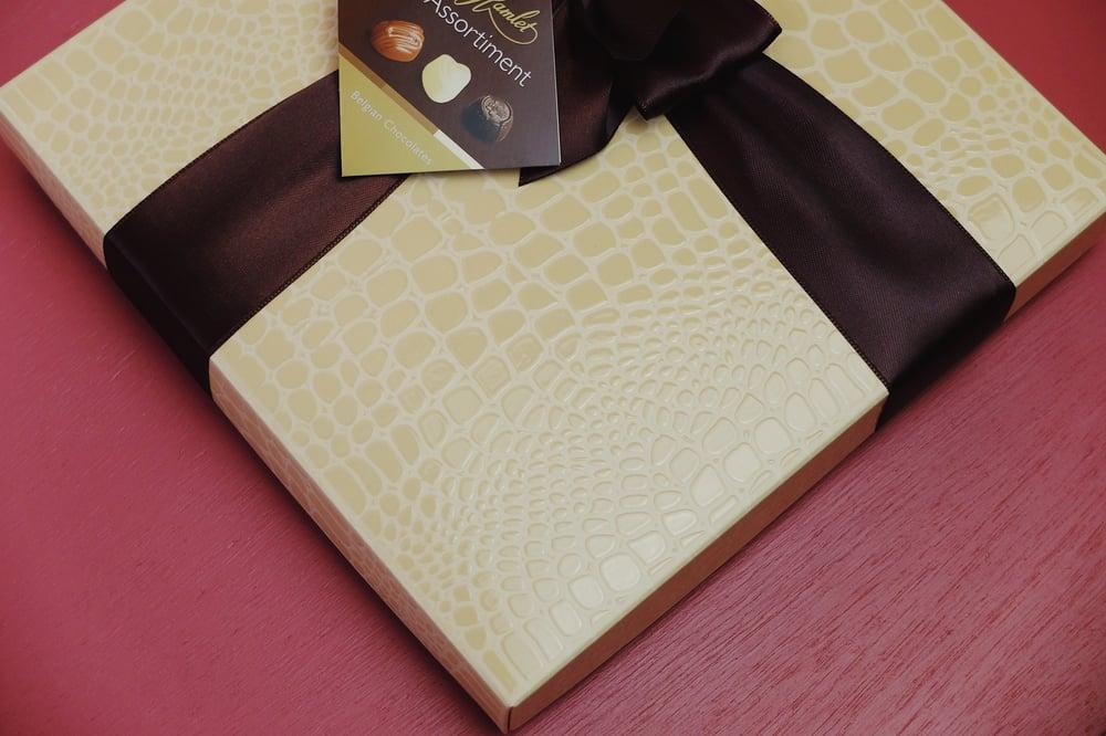 Image of Wrapped Faux Crocodile Skin Belgian Chocolate Assortment Box - Cream