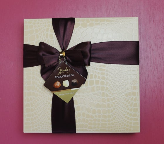Image of Wrapped Faux Crocodile Skin Belgian Chocolate Assortment Box - Cream