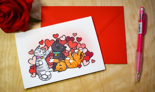 Image of Poly Cats - Valentines Card