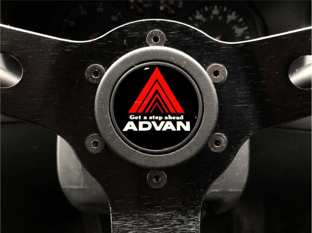Image of Advan Hornpush Sticker 40mm Domed