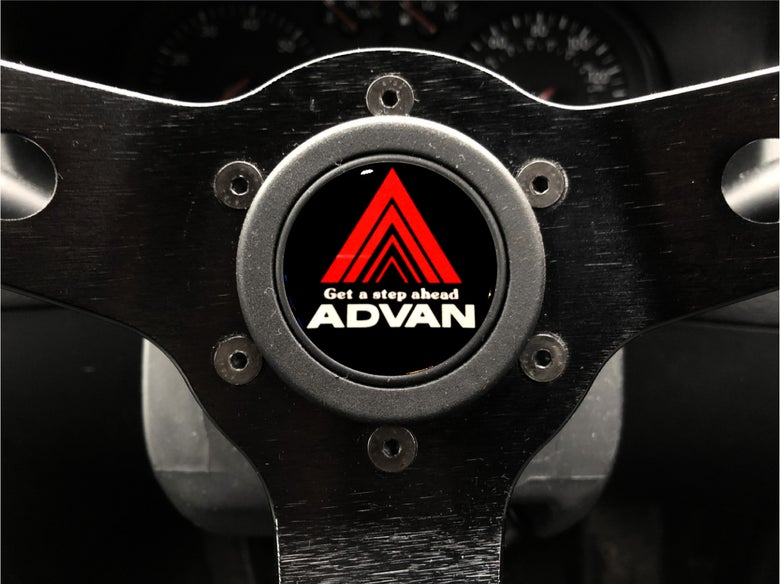 Image of Advan Hornpush Sticker 40mm Domed