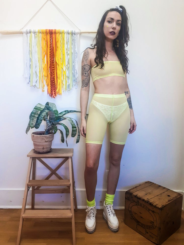 Image of Mesh Bandeau and Biker Shorts Set