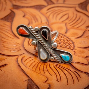 Image of Zuni Sterling Silver Inlay Ring with Turquoise Jet Mother of Pear and Coral Size 5.75